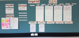 "OHS project wall which includes the following text: Project wall; PBL driving question ""why are our landforms so amaing?""; Student groups ""7 red/7 blue""; Deliverables; Marking rubric; Weekly tasks ""week 1, week 2, week, 3, week, 4, week 5"". Other text illegible."